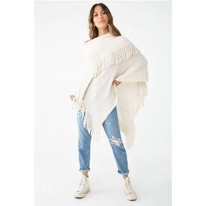 Boho Off white Fringe Foldover Sweater Poncho